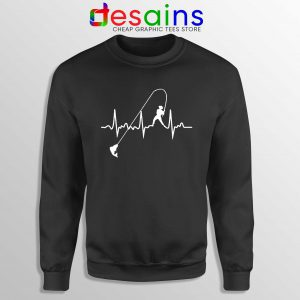 Fishing Heartbeat Sweatshirt Crewneck Fishing Graphic Sweater