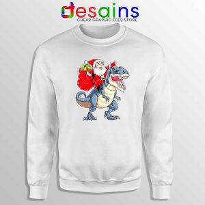 Santa Riding Dinosaur Sweatshirt Cheap Ugly Sweater Santa Christmas