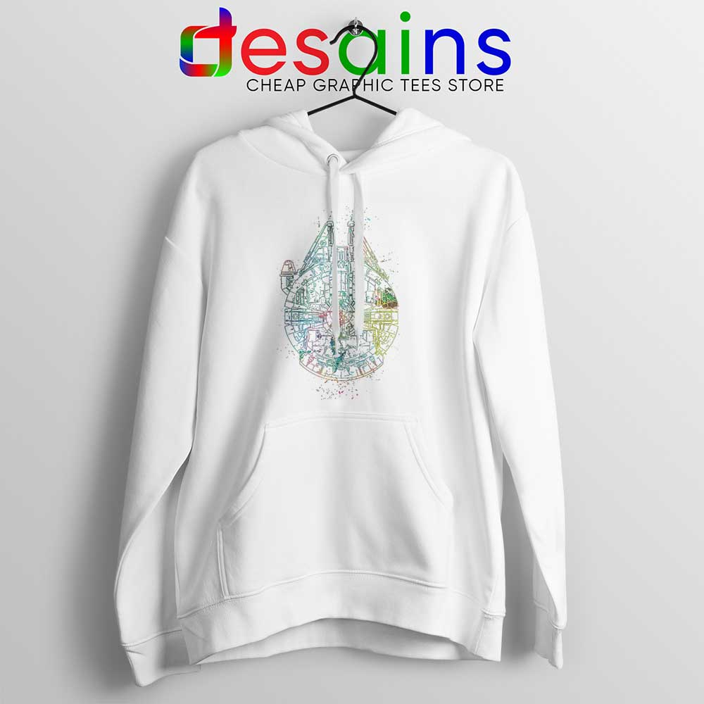 pretty nice e0db2 25ee7 Millenium Falcon Painted Schematic Hoodie Star Wars Starship Hoodies