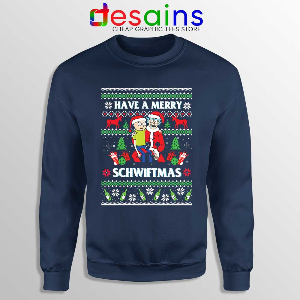 Rick And Morty Ugly Christmas Sweater.Rick And Morty Merry Schwiftmas Sweatshirt Ugly Christmas Sweater