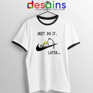 Snoopy Just Do it Later Ringer Tee Lazy Peanuts Dog T-shirts