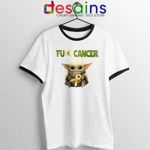 The Child does not like Cancer Ringer Tee Baby Yoda Tshirts